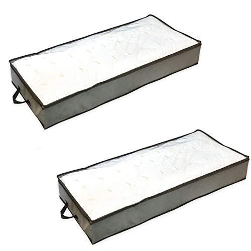 Paquete de 2 almacenamiento debajo de la cama - Almacenamiento de ropa con cubierta superior transparente Asas reforzadas Cremallera fuerte Almacenamiento de dormitorio duradero y plegable