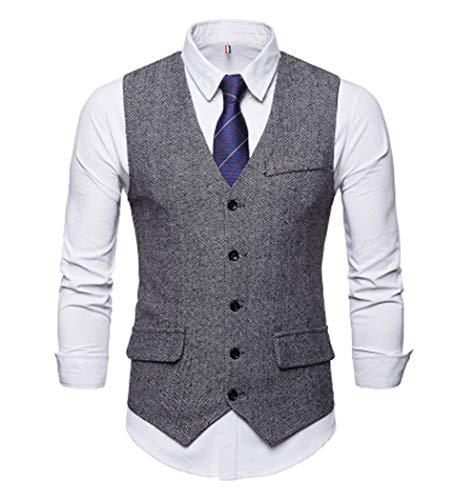 GL SUIT Tweed herenvest met visgraatpatroon, V-hals, eenrijs, slim fit, vintage-formele zakelijke party-casual klagvest voor huwelijk, dans, hostbar