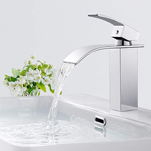 BONADE Wasserhahn Bad Armatur Wasserfall Einhandmischer Waschtischarmaturen Messing Mischbatterie Verchromt Badarmatur für Badezimmer Waschtisch Waschbecken