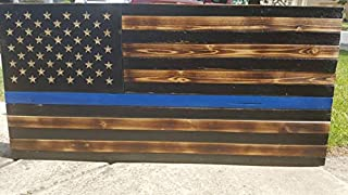 weewen Thin Blue Line Wood Flag Hand Printed Printed Police Officer Distressed Rustic Burned Wooden Reclaimed Academy Retirement Graduation Gift Cabin Decor Plaque Sign Gift