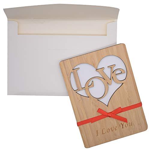 Tarjeta de Felicitación de Madera, JPYH Tarjeta de Felicitación, Tarjeta de Felicitación para el Aniversario,Adecuado para el Día de San Valentín, Cumpleaños, Boda, Día de la Madre.