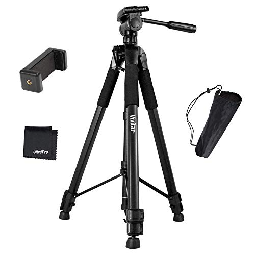 """UltraPro 72"""" Inch Black Heavy-Duty Aluminum Camera Tripod with Universal Smartphone Mount for iPhone, Samsung, and All Smartphones, Includes UltraPro Microfiber Cleaning Cloth"""