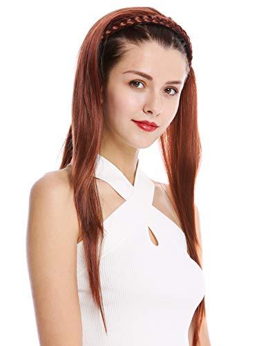 WIG ME UP ® - TYW60875H-35 Mi-perruque postiche noble serre-tête tressé lisse très long 70 cm brun foncé rouge brun
