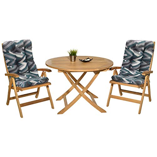 Pack 2 Cojines con Respaldo para Sillas de jardín. Conjunto de 2 Cojines para sillones de Interior y Exterior. Cojin para Silla con Respaldo, Cojines Acolchados, mecedoras terraza. (Triángulos)