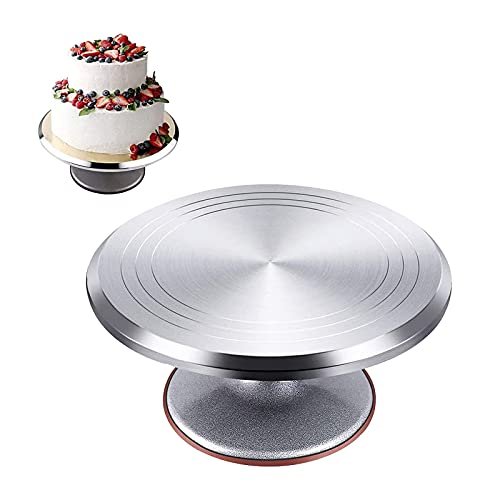 DIYH Roterande tårtställ, 360° tårtskivspelare för dekoration, rund professionell roterande tårtbas, till födelsedag, presentidé, aluminiumlegering snurrande tårtfat 23 35 cm