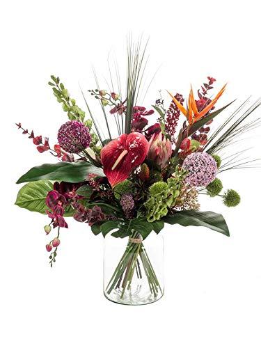 artplants.de Kunst Blumenstrauß Feme, rot-violett, 65cm, Ø 40cm - Künstlicher Blumenstrauß - Kunststoff Strauß