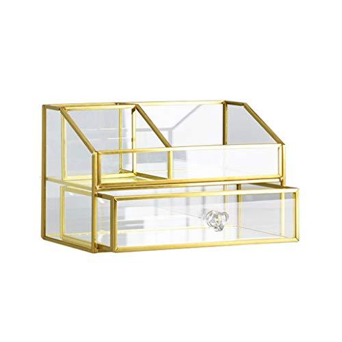 ZSP Estante de la joyería La joyería de Oro del Soporte de exhibición de Cristal cosméticos cajón de Metal Caja de Almacenamiento Organizador Soporte de joyería (Color : B)