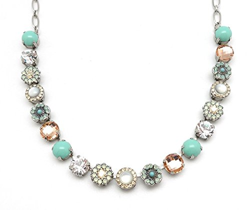 Mariana Summer Palace Swarovski Crystal Silvertone Necklace Light Peach & Pacific Opalescent Mosaic 1042