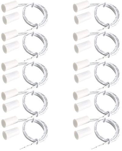 VISSQH 10pcs RC-33 Interruptor de láminas magnético, alarma, sensor de contacto para puerta o ventana de seguridad, cableado empotrable, NC Puerta Ventana Contacto,color blanco,Cilíndrica