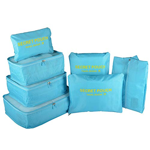 Maomaoyu Travel Luggage Organisers Suitcase Storage Bags Set of 7- Packing Cubes Breathable Lightweight -Colour Options(Bright Blue)