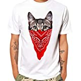 ZYooh Fashion Mens Round Neck T-Shirt,Fun CAT Printing Casual Short Sleeve Tee Cotton Solid Color Short Tops (XL, CAT B)