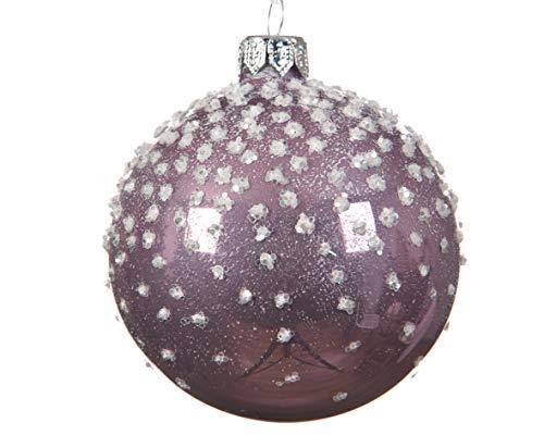 Kaemingk Lot de 6 Boules de Noël Mauve avec Finition Brillante Lilas 8 cm