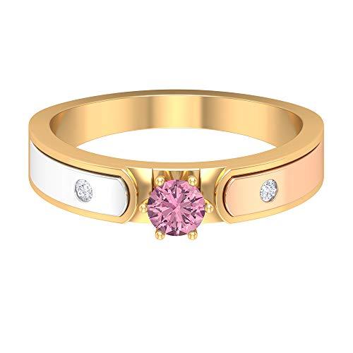 Piedra de nacimiento de octubre - 4,00 mm rosa turmalina solitario anillo, anillo de diamante HI-SI, anillo de compromiso de oro de 3 tonos (calidad AAA), 14K Oro amarillo, Size:EU 68
