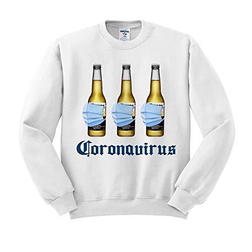 Beer Mask Virus Funny Beer Drinking Sweatshirt Unisex Medium White