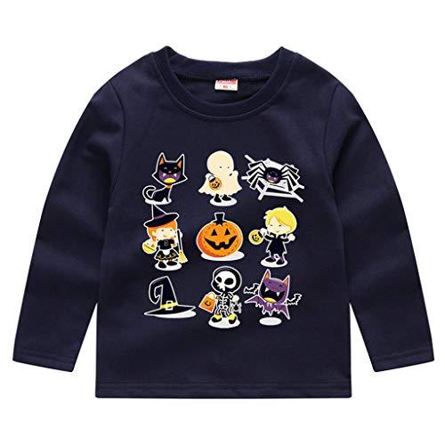 Romantic Kinder Baby Jungen Halloween Kostüme Lange Ärmel Bat/Kürbis/Brief Gedruckt T-Shirt Schickes Kürbis Kostüm Top Sweatshirts für Karneval Party Halloween Fest (Marine 4, 120)