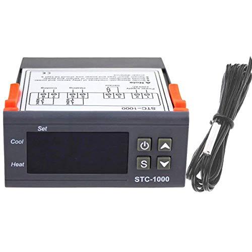 Greatangle STC-1000 termostato Controlador de Temperatura Multiusos Digital Profesional Acuario con Cable de sonda de Sensor Gris 220 V