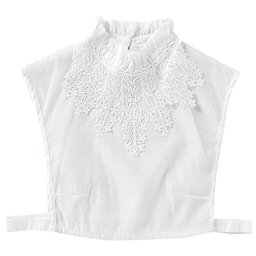 Volantes Cuello falso Abrigo de hombro Coreano Dulce mujer Cuello chal con volantes Blusa falsa extra¨ªble Escote de gasa-M, Francia