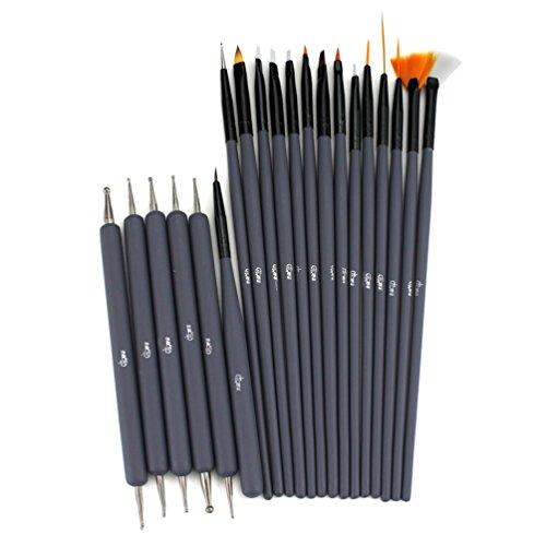 Glow 20 Piece Kit de pinceaux et outils de pointage pour ongles - Qualité Premium - Parfait pour les débutants et les professionnels - Kit pratique abordable avec manche en bois - Couleur grise