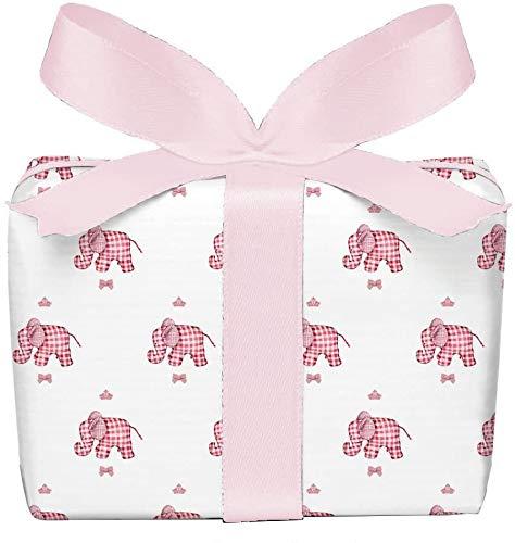 3er Set Geschenkpapier Bögen Elefant rosa weiß für Kinder Kindergeburtstag Baby Geburt Taufe, Mädchen, gedruckt auf PEFC zertifiziertem Papier, 50 x 70 cm
