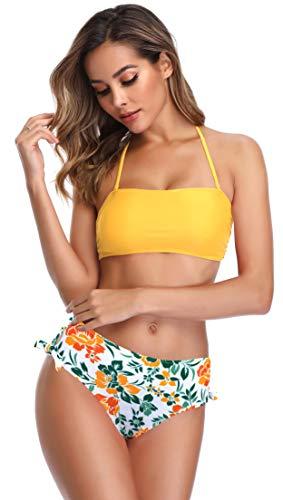 SHEKINI Dividido en la Parte Superior del Tubo de la Mujer Bikini con Cuello Alto Calzoncillos de Cintura Alta Impreso Hojas de Flores Traje de baño Bow Set (M, Amarillo)