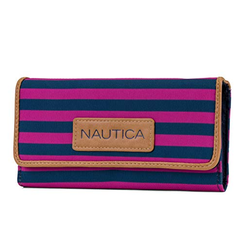 Nautica Women's Perfect Carry-All Money Manager RFID Blocking Wallet Organizer, rose violet