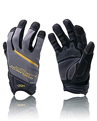 HANDLANDY Mens Work Gloves with Touch Screen Finger Tips, Breathable & Flexible Mechanic Working Gloves,Craftsman,Outdoor, Yard Glove?XL?