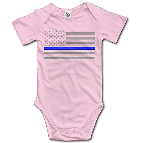 Nubia Infant Thin Blue Line American Flag Short-Sleeve Romper Jumpsuit Black