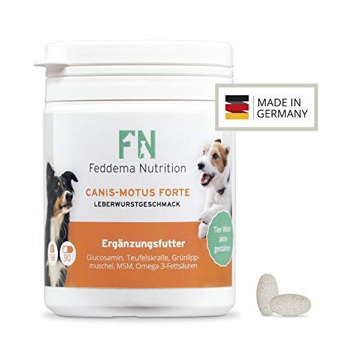 Feddema Canis-Motus Forte Leberwurst Gelenk Ergänzungsfutter für Hunde mit Teufelskralle Glucosamin MSM Grünlippmuschel I Futterergänzung Hunde Gelenke Tabletten I 1 Packung á 90 Tabs