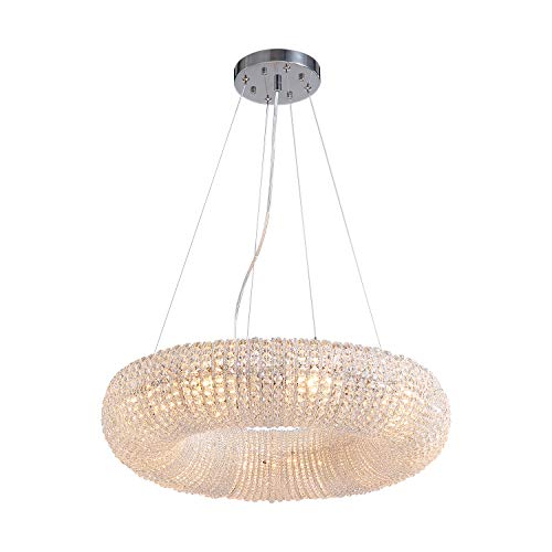 """SILJOY Modern Luxury Crystal Chandeliers Halo Pendant Ceiling Light Fixture for Bedroom Kitchen Island Dining Room Living Room D24"""" x H 5"""""""