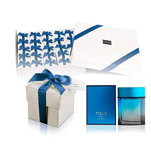 Pack 25 perfumes miniaturas originales para hombre como detalles para bodas personalizados Tous Man Sport Eau de toilette 4,5 ml. para regalar
