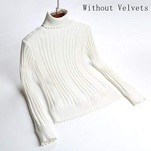 Plus Maat S-2XL Dikke Warm Vrouwen Trui Trui Mode Gebreid Met Fluwelen Jumper Top Rib Vrouwelijke Coltrui Sweater-wit geen velvets_XL