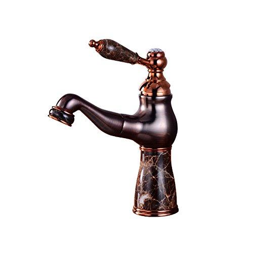 Badkamerarmatuur met waterkraan en uittrekbare handdouche met intrekbare wastafelkraan, koper, zwart, warm en koud water, met wastafel boven de waterkraan voor wastafel om neer te zetten (D014)