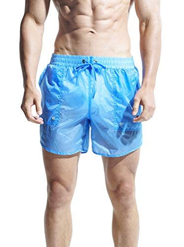 "WUAMBO Mens Quick Dry Solid Shorts Men's Running Short Shorts,Lightweight Blue L(Waist:29""-31"")"