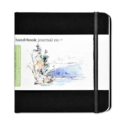 Speedball Travelogue Drawing Book, Square 5-1/2 x 5-1/2, Ivory Black Artist Journal