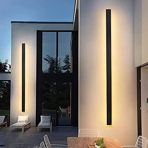 Luzes de parede LED reguláveis para cima / para baixo Lâmpada de parede externa Arandela de parede externa Moderna luz de alumínio para lavagem de parede IP65 Iluminação de jardim retangular à prova d'água interna / externa com faixa preta 3000K-6500K, 40cm 22W