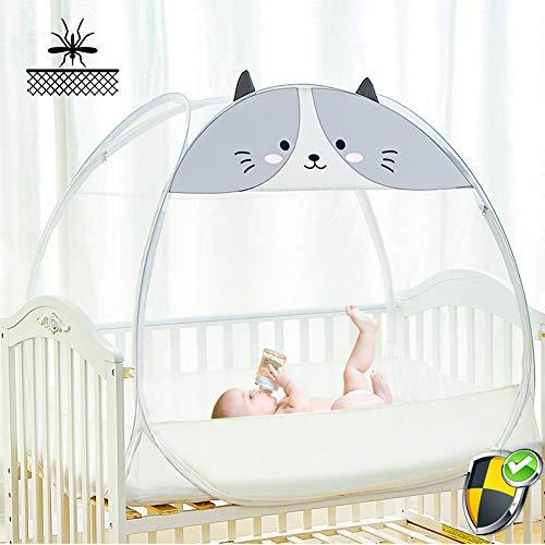 Douer Moskitonetz Baby, Unisex Babybett Moskitonetz, Baby Moskito Insektennetz - Katzennetz mit Reißverschluss für schnellen, einfachen Zugang zu Ihrem Baby,C,104×58×90cm