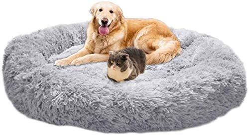 Rundes Hundebett, Haustier Beruhigendes Bett Plüschnest Warmes Weiches Kissen Donut Cuddler Cat Puppy Sofa Bequem für Extra Großen Hund Winter,M-70cm-Light Grey