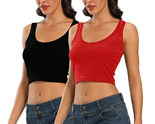 CARCOS 2-Pack Mujer Crop Top, Camiseta sin Mangas Básica Yoga Camisero Corto con Cuello Redondo Tirantes Anchos Verano Negro Rojo M
