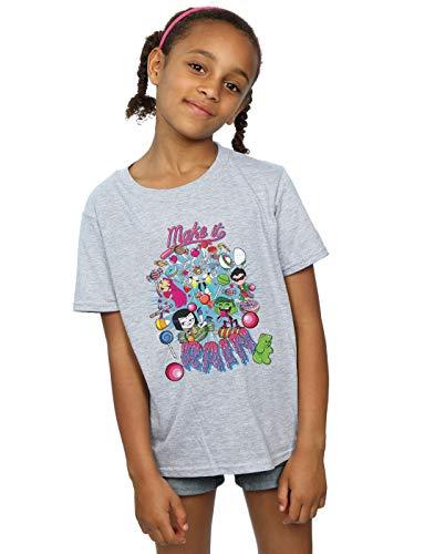 DC Comics Niñas Teen Titans Go Make It Rain Camiseta Deporte Gris...