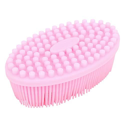 Masajeador de cuero cabelludo, silicona suave, seguro, impermeable, cepillo de cuero cabelludo de silicona, insípido, apto para la piel, para el cuero cabelludo del bebé(Pink)
