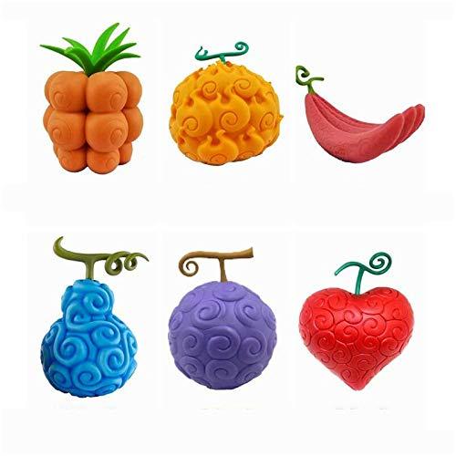 Ly-Figures 6 Stück Set One Piece Teufelsfrucht Modell Statue Gum-Gum-Frucht dunkle Frucht Mera-mera Obst