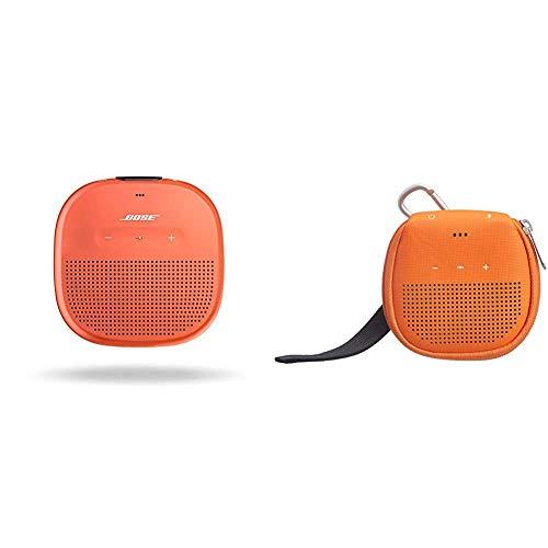 Bose Enceinte Bluetooth SoundLink Micro - Orange Vif & AmazonBasics Étui avec béquille pour Enceinte Bluetooth Bose SoundLink Micro - Orange