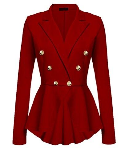 YuanDian Mujer Otoño Casual Color Sólido Double Breasted Trajes De Chaqueta Slim Fit Trabajo Blazer Americana Rojo XL