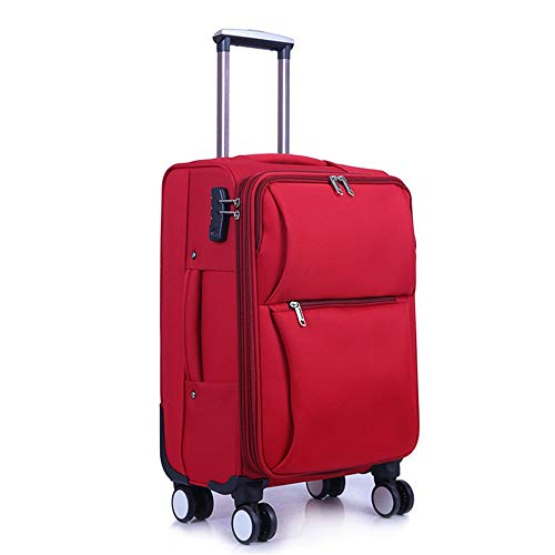 Suitcase Student Oxford Brass Box Fashion Safe Suitcase Business Board Chassis Chassis Waterproof Wearable 20-28 Inch Suitcase Travel Luggage Case (Color : Purple, Size : 20Inch)
