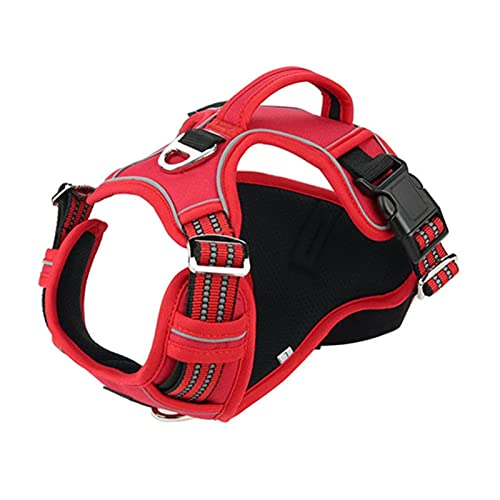 LUBINGT Pet Accessories Dog Harness No-Pull Nylon Pet Harness Adjustable Soft Padded Dog Vest Reflective Easy Control Handle for Small Large Dogs (Color : Red, Size : L)