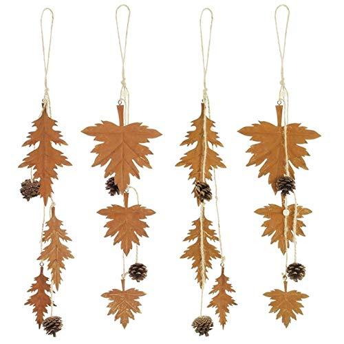 SIDCO Hänger 4 x Blätter Metall Zapfen Herbstblätter Rostoptik Herbstlaub Fenster Deko
