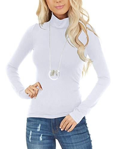 Women Tops Long Sleeve Tee Shirt White Mock Neck Sweatshirt Business Casual Clothes S