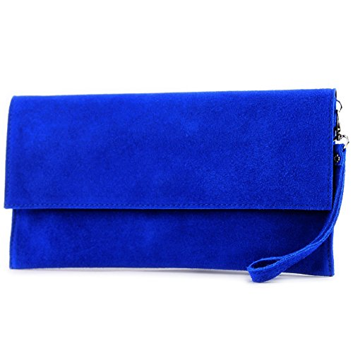 modamoda de - cuero italiano de embrague T151 Pequeño Gamuza, Color:azul real