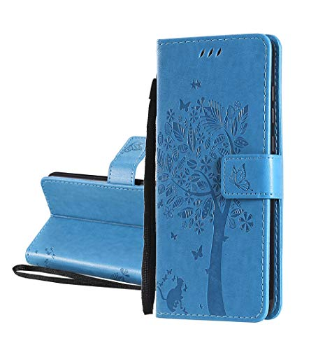 HAOYE Hülle für Motorola Moto G8 Power Lite, Retro Geprägt Muster Design Leder Brieftasche Flip Handyhülle, Kartenfach & Magnet Kartenfach Schutzhülle für Motorola Moto G8 Power Lite, Blau