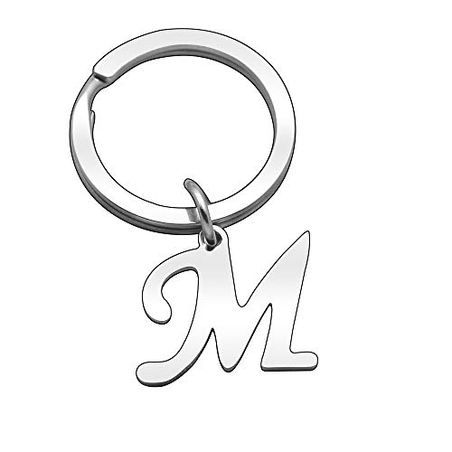 Portachiavi in argento con lettera dell'alfabeto, da donna e da uomo A B C D E F G H I J K L M N O P Q R S T U V W X Y Z (M)